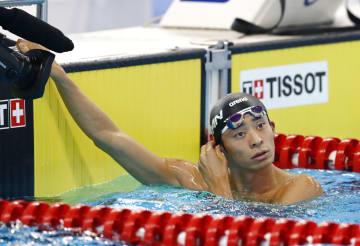 男子200メートル背泳ぎ予選 レースを終えた入江陵介=ジャカルタ(共同)