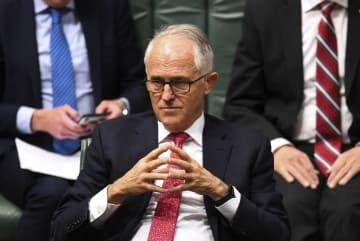オーストラリア連邦議会に出席したターンブル首相=21日、キャンベラ(ロイター=共同)