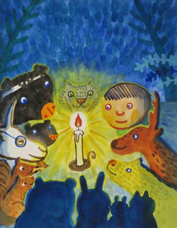 会場に展示している作品の一つ、絵本「ろうそくいっぽん」の原画