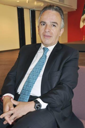 東京都内で取材に応じるメキシコのミゲル・ルイスカバニャス外務次官=24日