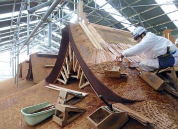 春日大社の国宝本殿の檜皮屋根ふき替え作業=2015年12月、奈良市