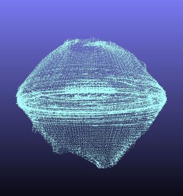 レーザ高度計で得られたデータから表した小惑星りゅうぐう(国立天文台、JAXA、千葉工大、会津大、日本大、大阪大提供)