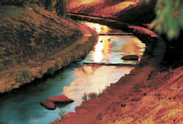 夕闇が辺りに迫るころ、清流の水面(みなも)に赤く街明かりが映った。白河市の中心部を流れる谷津田川は、戊辰戦争の悲惨な歴史をしのばせる=白河市向新蔵