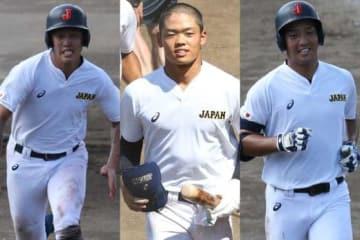侍ジャパンU-18代表の正遊撃手候補として注目される小園海斗、根尾昂、中川卓也(左から)【写真:編集部】