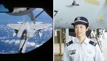 米空軍の空中給油機に近づく航空自衛隊のF15戦闘機(左)、空自初の戦闘機パイロットの松島美紗2等空尉(右)