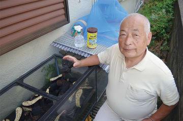木炭の性質を活用し鈴虫を飼育する井上孝二さん