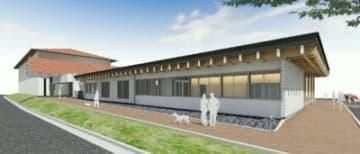 おおいた動物愛護センターの完成イメージ図。屋外にはドッグランを設ける