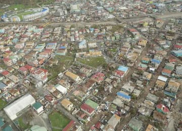 Aftermath of Hurricane Maria: Aerial view of part of Roseau, the capital city of Dominica