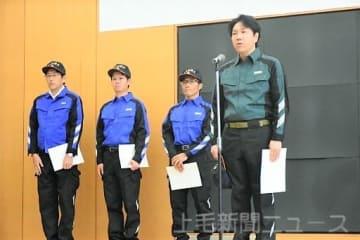 西日本豪雨被災地での復旧活動に向けて決意を語る(右から)木暮さん、福島さん、佐藤さん、原沢さん