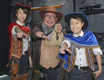 「はやぶさ」の新曲発売記念イベントに登場した(左から)ヤマト、芋洗坂係長、ヒカル=30日、東京都内