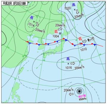 8月30日午後6時の天気図(気象庁ホームページより)