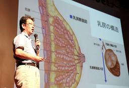 乳がんの早期発見法について解説する谷野裕一教授=神戸市中央区熊内橋通7