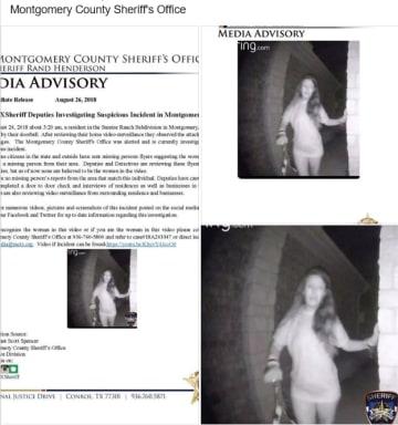 女性のビデオ映像。米テキサス州モンゴメリー郡警察のフェイスブックから