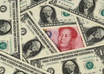 U.S. dollars and Chinese yuan bills