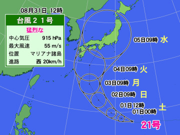 台風21号の5日間進路予想