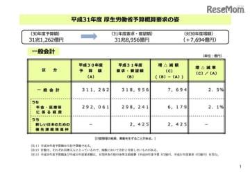 平成31年度 厚生労働省予算概算要求の姿(一般会計)