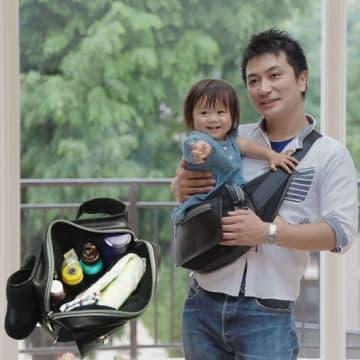 「パパバッグ」は、子どもの抱っこ補助としても使える強度がある