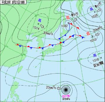 8月31日午後6時の天気図(気象庁HPより)