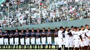 1万6千人の観客を沸かせた高校日本代表と県選抜の壮行試合=31日午後、宮崎市・KIRISHIMAサンマリンスタジアム宮崎