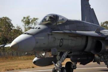 日本国内で空自と初の共同訓練に参加する豪空軍FA18戦闘攻撃機(豪空軍HPから)