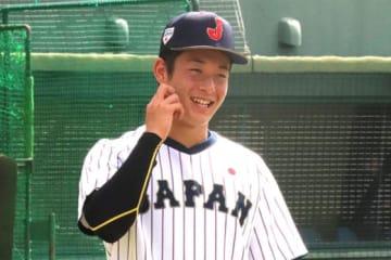 1日、練習を行った侍ジャパンU-18代表・吉田輝星【写真:福谷佑介】