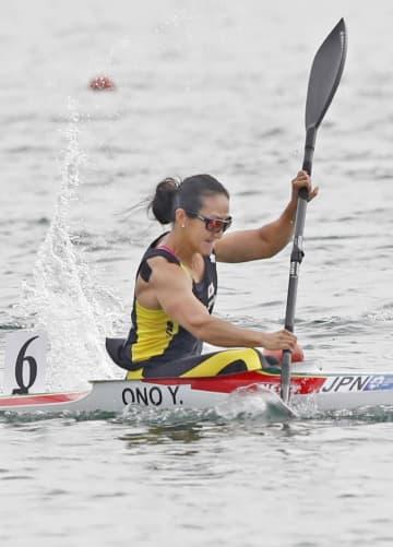 女子スプリント・カヤックシングル200メートル決勝 銅メダルを獲得した小野祐佳=パレンバン(共同)