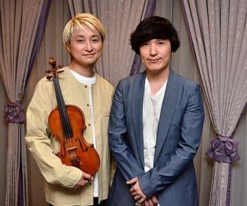 「生の音楽をぜひ堪能してほしい」と語る清塚さん(右)とNAOTOさん=1日、鳥取市内