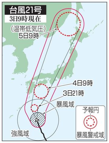 台風21号の予想進路(3日9時現在)