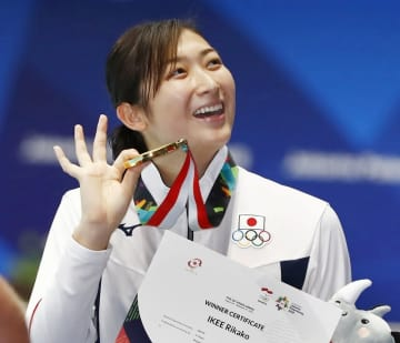アジア大会で6個目の金メダルを獲得した池江璃花子=ジャカルタ