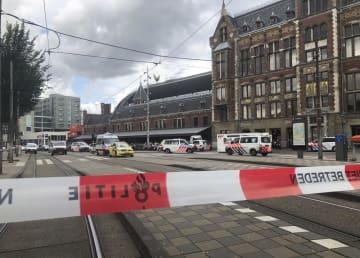 刃物による襲撃事件があったアムステルダムの中央駅=8月31日(AP=共同)