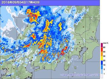 4日午後5時40分の雨雲の様子。出典=気象庁ホームページ