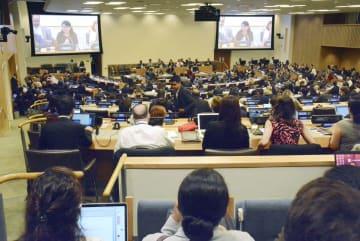 4日、米ニューヨークの国連本部で始まった、公海の生物多様性を守る条約の制定交渉会合(共同)