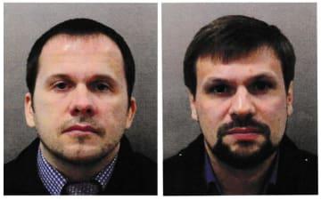 アレクサンドル・ペトロフ容疑者(左)とルスラン・ボシロフ容疑者(ロンドン警視庁提供・ロイター=共同)