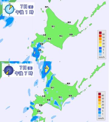 7日(金)午後1時と午後7時の北海道の降水予想