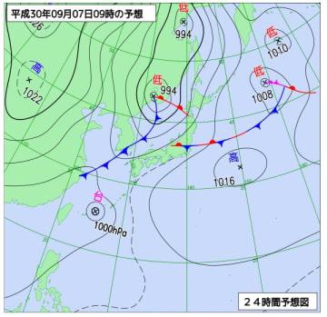 9月7日午前9時の天気図(気象庁HPより)