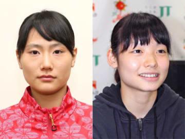 バレーボール女子日本代表の井上琴絵(右)と田代佳奈美