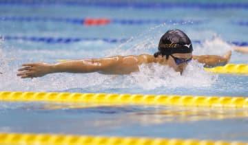 男子200メートルバタフライ決勝 1分56秒08で優勝した早大・幌村尚=横浜国際プール