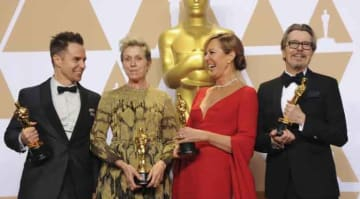 Sam Rockwell, Frances McDormand, Allison Janney, Gary Oldman at The 90th Annual Academy Awards Press Room
