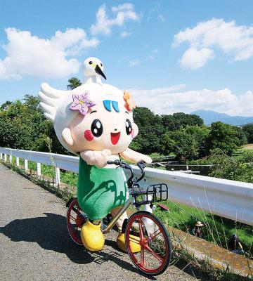 モバイクのシェア自転車に乗る中井町のキャラクター「なかまる」(同町提供)