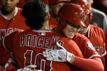 本塁打を放ち、同僚と喜びを分かち合うエンゼルス・大谷翔平【写真:AP】