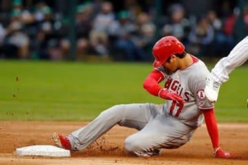 初回に今季8個目の盗塁を成功させたエンゼルス・大谷翔平【写真:Getty Images】