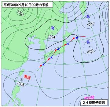 9月10日午前9時の予想天気図(気象庁ホームページより)