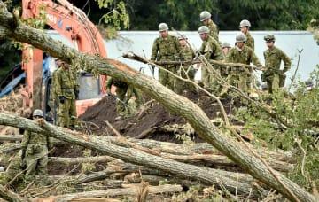 北海道厚真町富里地区の土砂崩れ現場で作業する自衛隊員=9日午前