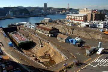 横須賀米海軍横須賀基地内のドライドック(横須賀市提供)