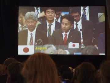 開幕したIWC総会でモニターに映し出された谷合正明・農水副大臣(右)ら=10日、ブラジル・フロリアノポリス(共同)