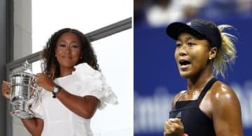 左は全米オープンテニスの女子シングルス初制覇から一夜明け、記念撮影に応じる大坂なおみ=2018年9月9日、ニューヨーク(共同)、右は2018年9月8日撮影 女子シングルス決勝で、セリーナ・ウィリアムズを破って初制覇を果たした大坂なおみ=ニューヨーク(共同)