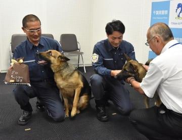 ご褒美のドッグフードの匂いに反応する警察犬のフローニ(左)とカレン=11日、千葉県警本部