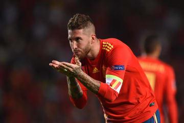サッカーの欧州ネーションズリーグ、リーグAの4組のクロアチア戦で、チーム5点目を決めたスペインのセルヒオラモス=11日、エルチェ(ゲッティ=共同)