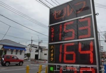 ガソリン価格の高値が続いている=高崎市内のガソリンスタンド