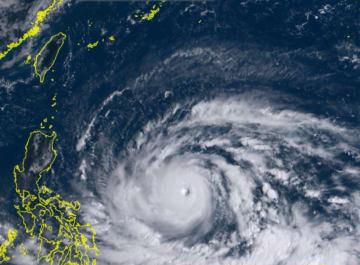 13日午前9時20分現在の台風22号(ひまわり8号リアルタイムwebから)